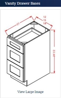 Shaker White Vanity Drawer Base 15 w x 21 d x 34 1/2 h