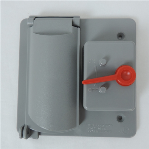Weatherproof - FGV-TS1VP Non Metallic GREY PVC Two Gang GFCI / Toggle Combo Cover