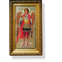 "St Michael Framed w/Crystals and Glass 11 1/2""x7 1/2"""