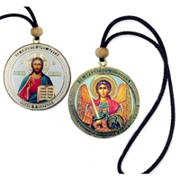 St. Michael & Christ Reversible Icon with Rope
