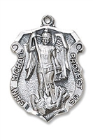 "Oxidized Silver St. Michael Medal  1/1/4"" H, 24"" L Chain"