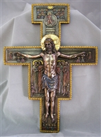 "San Damiano Crucifix, Lightly Hand Painted Cold Cast Bronze 11.5""x15.75"""