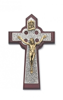 5 3/4 Cherry/Silver Celtic Crucifix