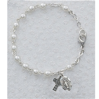 "3 MM Pearl Irish Bracelet - 6.5"", Youth, Pewter"