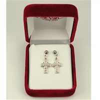 Rhodium Finsihed Celtic Cross Earrings