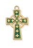 "Gold/Sterling Silver Green Celtic Cross on 18"" Chain"