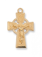 "Gold over Sterling Silver Celtic Crucifix 18"" Chain"