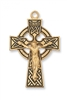 "Gold Over Sterling Silver Celtic Crucifix 24"" Chain"