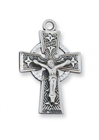 "Sterling Silver Celtic Crucifix 18"" Chain"