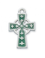 "1"" RHODIUM PLATED GREEN ENAMEL CELTIC CROSS, 18"" CHAIN"