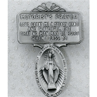 SILVER MIRACULOUS MEDAL VISOR CLIP CARDED