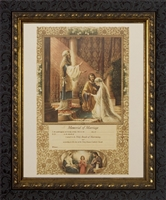 "Memorial Certificate of Marriage (From Original Lithograph) Framed, 8"" X 10"", Ornate Dark Frame"