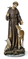 14 INCH ST. FRANCIS WITH DEER STATUE