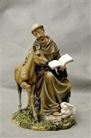 8.5 INCH ST. FRANCIS, SEATED WITH HORSE FIGURINE