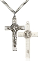 0645SS/24S <br/>Sterling Silver St. Benedict Crucifix Pendant