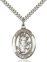 St. Hubert of Liege Medal<br/>7045 Oval, Sterling Silver