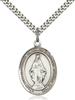 Miraculous Medal<br/>7078 Oval, Sterling Silver