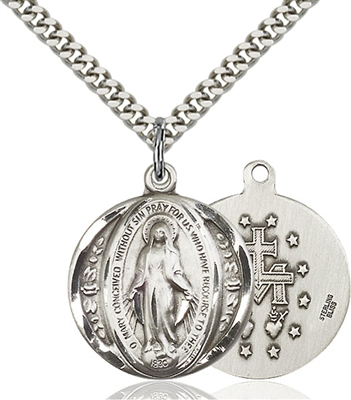 0017MSS/24S <br/>Sterling Silver Miraculous Pendant