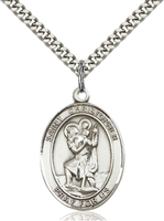 7022SS/24S <br/>Sterling Silver St. Christopher Pendant
