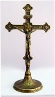Crucifix in Antique Brass, standing with round base 11.5""