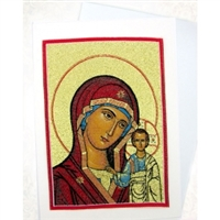 Virgin of Kazan Tapestry Icon Greeting Card with Envelope, Icon can be framed