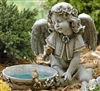 "11"" SOLAR ANGEL BIRD BATH"