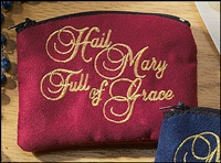 Hail Mary Embroidered Rosary Case