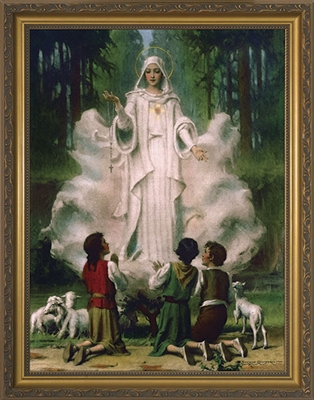 "Our Lady of Fatima in Cloud Framed Image, 8"" X 10"""