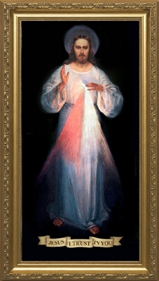 "Divine Mercy Original by Vilnius, Gold Framed Image, 8"" X 16"""