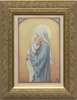 "Mary with Child by Barker Framed Image, 5.5"" X 8.5"""