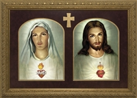 "Traditional Sacred & Immaculate Heart Framed Image, 10"" X 15"""