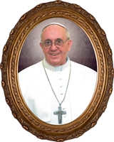"Pope Francis Formal Canvas in Oval Frame, 8"" X 10"""