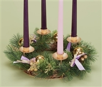 "14"" ADVENT WREATH WITH PURPLE RIBBON & GOLD PINE CONES, W/O CANDLES"