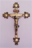 Crucifix - Veronese, cold-cast bronze, hand-painted, 16""