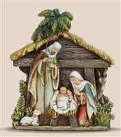 "7.75"" HOLY FAMILY WITH STABLE ORNAMENT, JOSEPH'S STUDIO, BOX"