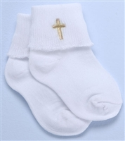 "4"" BAPTISM SOCKS WITH CROSS EMBROIDERY"