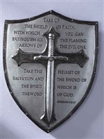 "6.5"" ARMOR OF GOD WALL PLAQUE, EPHESIANS 6:16-17"