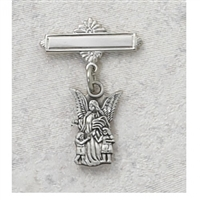 STERLING SILVER GUARDIAN ANGEL RHODIUM PLATED BABY PIN