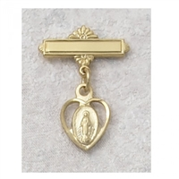 GOLD/STERLING SILVER MIRACULOUS MEDAL GOLD PLATED BABY PIN