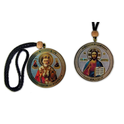 Christ/St Nicholas REVERSABLE Icon on a Rope New!!!