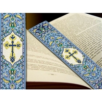 "IC XC Cross Tapestry Icon Book Marker, 9 1/8"" x 2"" (BLUE)"