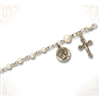 Sterling Silver & Pearl Rosary Bracelet Sterling Silver Medal and Crucifix 6""