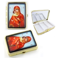 "Madonna & Child Icon Pill Box w/ mirror, 2 1/2"" x 2"""