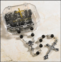 Black First Communion Rosary in Plastic Case