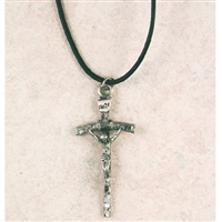 Pewter Papal Crucifix w/24 in. Black Cord
