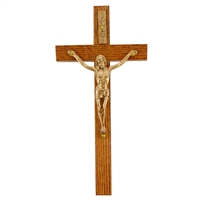 "8"" WALNUT CRUCIFIX GOLD CORPUS"