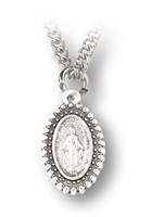 "Beaded Miraculous Medal 1"" on 18"" Chain"