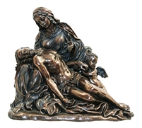 "Pieta by Agostino Carracci, cold cast bronze, 8.5"" X 7.5"""
