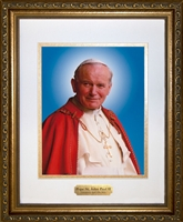 "Official Portrait John Paul II Matted Framed Image with Plate, 11"" X 14"""