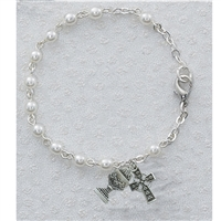 3mm 6.5 in. Pearl Bracelet w/SS Celtic Cross & Chalice